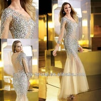 Par2254 One Shoulder Sexy Beaded Mermaid Sheer Sleeves Prom Dresses - Buy Sheer Sleeves Prom Dresses,Sheer Sleeves Prom Dresses,Sexy Beaded Mermaid Prom Dresses Product on Alibaba.com