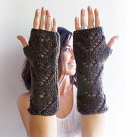 Brown Fingerless Gloves, Knitted Arm Warmers