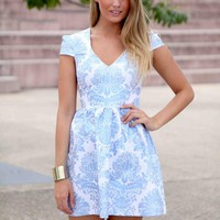 Blue Foil Printed Cap Sleeve Flare Dress