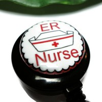 ER Nurse Id Badge Reel Holder Clip on Retractable Cap White Black