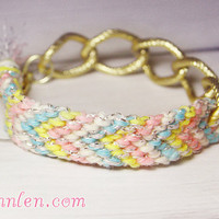 Friendship bracelet linking with gold chain - for pastel colors trend