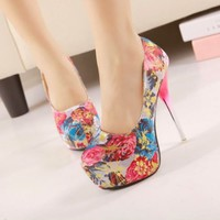 New Womens Floral Flowers Satin High Heels Platform Stilettos Pump Classic Shoes