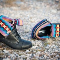 DBDK Kalande-1 Tribal Print Fold Over Combat Boot (Black) - Shoes 4 U Las Vegas