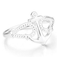 JBlue Jewelry Women's 925 Sterling Silver Ring CZ Silver Anchor Polished Personalized Size5 (with Gift Bag)