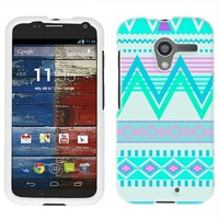 Motorola Moto X Aztec Andes Tribal White and Teal Pattern Phone Case Cover