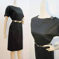 80s Dress Vintage Black New Wave Tear-away Snaps Day Dress Duran M
