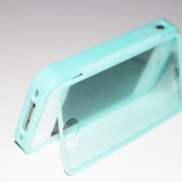 SOGA(TM) Teal Wrap Up TPU Gel Skin Case Phone Cover With Built-In Screen Protector For iPhone 4