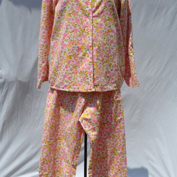 Vintage Women's Flannel Pajamas - Sears Perma-Press Pink Floral Flannel Shirt Pants