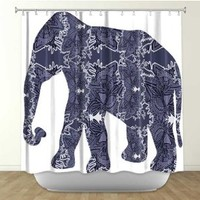 Shower Curtain Artistic Designer from DiaNoche Designs by Arist Susie Kunzelman Home Décor and Bathroom Ideas - Elephant II