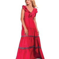 Hale Bob Tea For Two Silk Crepe Long Ruffle Maxi Dress