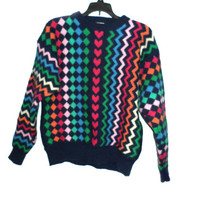 Cute vintage womens ugly tacky blue heart geometric patterns sweater neon pink green blue red 60s 70s 80s indie hipster chic fashion style L