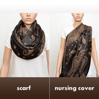 Black nursing cover scarf with Copper Gold Paisley Pattern - Infinity Nursing Scarf - Nursing Scarf - Nursing Cover - Nursing Infinity Scarf