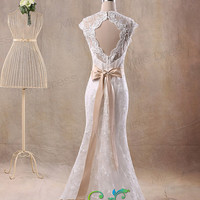 Mermaid V-neck cap sleeves sleeveless floor-length lace with appliques with sashes bow wedding dress prom dress