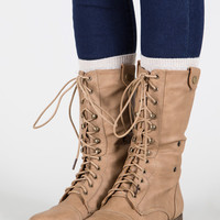Fold Over Lace Up Boot