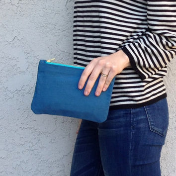 Date Night Mini Canvas Clutch - Ocean Blue