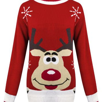 OutofGas Clothing Women's Santa Reindeer Penguin Snowman Jumper Sweater