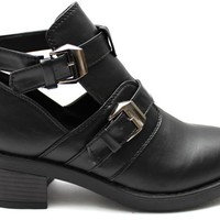 BLACK CLAUD Chunky Heeled Cut Out Boots at Mr Shoes UK