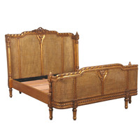 Lit Lit Embellished Gold Rattan Luxury Bed