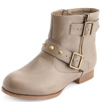 Studded & Belted Motorcycle Ankle Boot by Charlotte Russe - Taupe