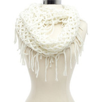 SHIMMER LATTICE FRINGE INFINITY SCARF