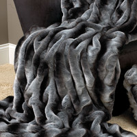 Grey Chinchilla Faux Fur Couture Throw Blankets | Fabulous-Furs