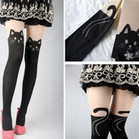 Kitten Print Knee High Length Socks CAT Tail Tattoo Tights Pantyhose