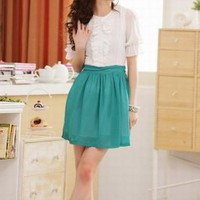 Korea Stylish Short Sleeve Chiffon Dress Green