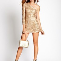 Gold Sequined One-Shoulder Dress | GUESS.com