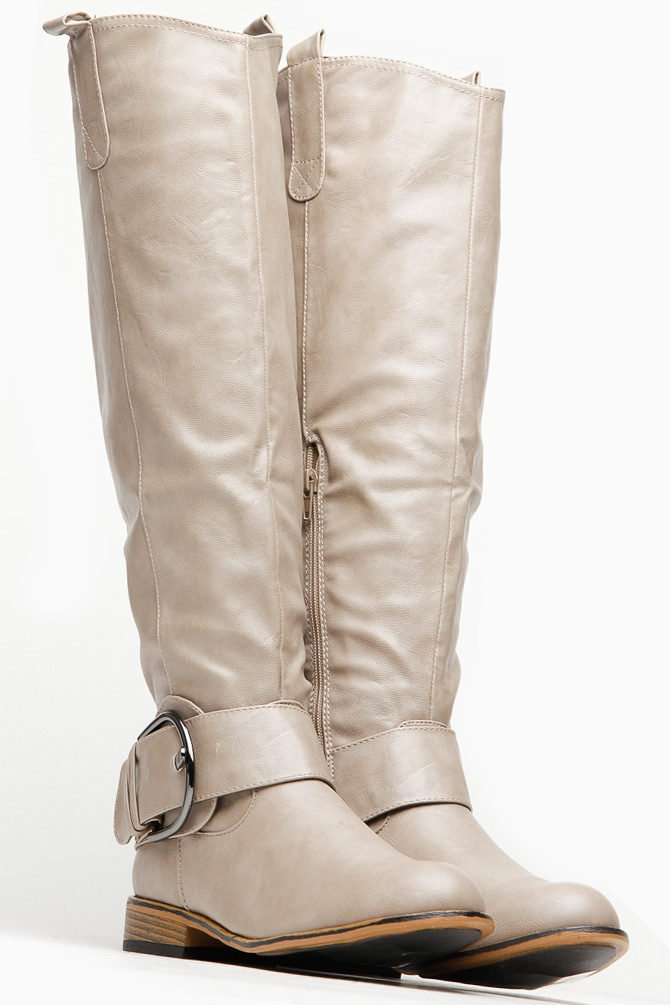 bamboo taupe knee high belted rider boot from cici