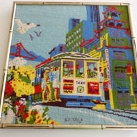 Vintage needlepoint, San Francisco, cable car, vibrant colors, framed 15 inches square.