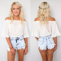 FESTIVAL BOHEMIAN BEACH BOHO WHITE OFF THE SHOULDERS CROPPED TOP 6 8 10 12