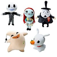NIGHTMARE BEFORE CHRISTMAS PLUSH SET OF 5. INCLUDES : JACK , SALLY , OOGIE BOOGIE , ZERO , MAYOR