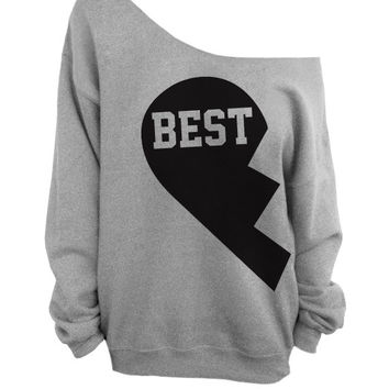 Besties - Best Friends Gray Slouchy Oversized CREW Sweater - BEST
