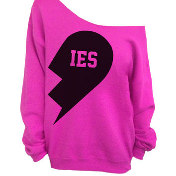 Besties - Best Friends Hot Pink Slouchy Oversized CREW Sweater - IES