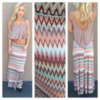 Brown & Mint Chevron Print Maxi Skirt