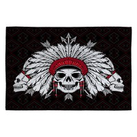 DENY Designs Chobopop Geometric Indian Skull Woven Rug, 4 by 6-Feet