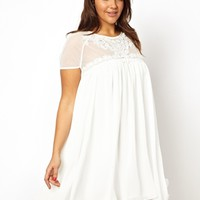 Lipstick Boutique Swing Dress with Lace Yoke