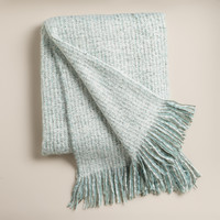 Dusty Aqua Lofty Faux Mohair Throw - World Market