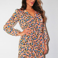 Carrie Oh-So-Peachy Floral Wrap Dress