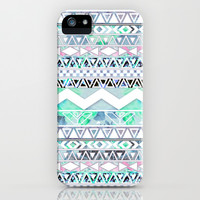 Teal Girly Floral White Abstract Aztec Pattern iPhone & iPod Case by Girly Trend