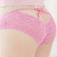 Womens Fashion Sexy Lace up Bowknot Panties Knickers Underwear Underneath Pinks