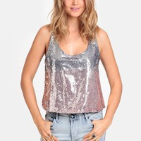Speed Of Light Sequined Crop Top