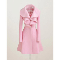 Pink Wool Coat outwear Jacket Fall Spring Winter-C1002
