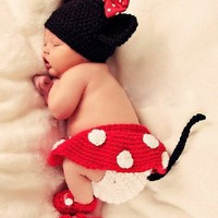 4pcs Set Baby Girl Crochet Minnie Mouse Diaper Cover Skirt Shoes Outfit Costume 3-6 Months Photo Props