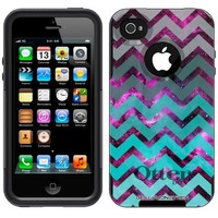 Otterbox Commuter Series Nebula Chevrons Grey Green Turquoise Hybrid Case for Apple iPhone 4 & 4S