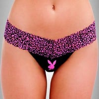 PLAYBOY ANIMAL PRINT LACE THONG