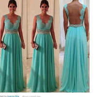 Custom Made Open back Lace Chiffon Prom Dress,V-neck Sexy Evening Dress,Mint Lace Prom Dress