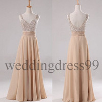 Custom Beaded Long Fashion Prom Dresses Bridesmaid Dresses 2014 Formal Evening Gowns Formal Party Dress Cocktail Dress Dress Party
