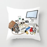 what's on  my desk Throw Pillow by 23madisonstudio