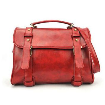 High Quality Preppy Versatile Vintage Buckle Waterproof Messenger Bag Tote